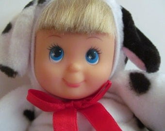 Bean  Bag  Baby  Doll - in Animal  Costume - 8'' dotted Dalmation Doll  - from  Cititoy