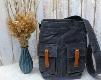 Waxed Canvas Medium Explorer crossbody Style Handbag Purse Messenger Tote **Shown in Charcoal**