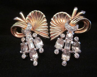 Signed Mazer Vintage Goldtone and Rhinestone Clip Earrings