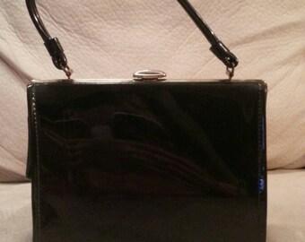 Black Patent Leather Handbag, 60's, Retro, Rockabilly, Clutch, Handle, Vinyl Lining