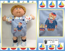 """Handcrafted Cabbage Patch DOLL CLOTHES to fit 16"""" Boy-- """"Teddy Bear Sailor & Toy Sail Boat"""" Design Romper Outfit"""