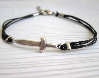 Silver Sword Black Bracelet - Men Bracelet - Mens Bracelet - Mens Jewelry - Bracelets For Men - Adjustable Men Bracelet  - Gift for Him
