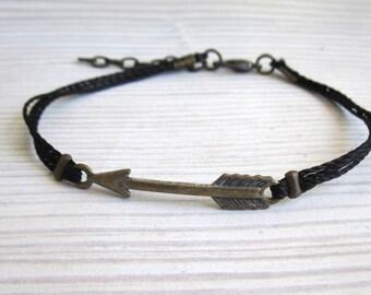 Arrow Cord Bracelet - Mens Bracelet - Men's Black Bracelet - Man Jewelry - Adjustable Men Bracelet  - Man Bracelet - Gift for Him