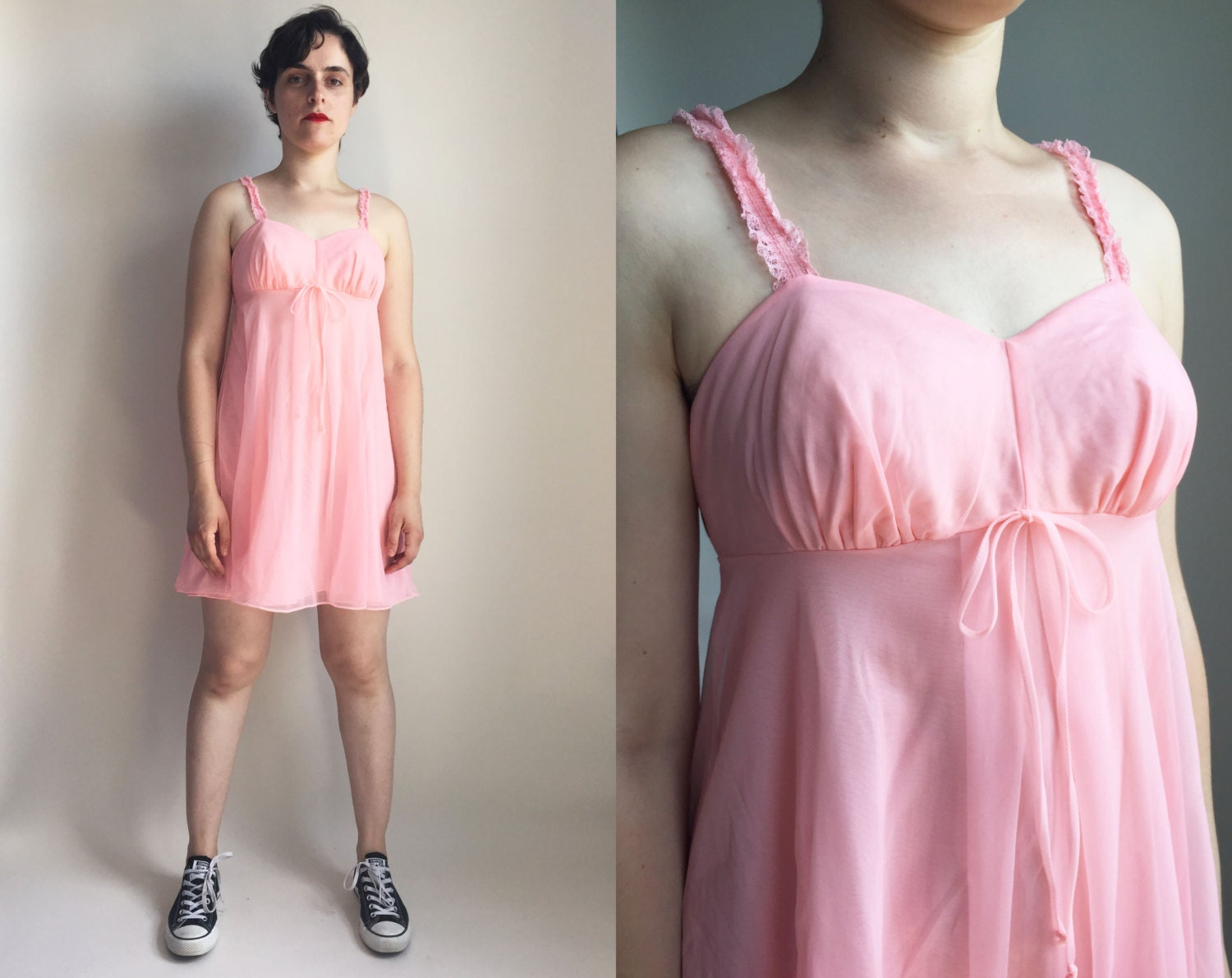 60s clothes 60s pink nightie vintage lingerie by trashedbytime