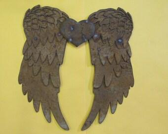 Rusty Metal 3 dimensional Angel Wings wall plaque