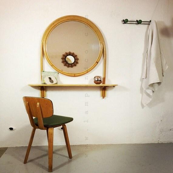 grand miroir et tablette en bambou suspendre. Black Bedroom Furniture Sets. Home Design Ideas