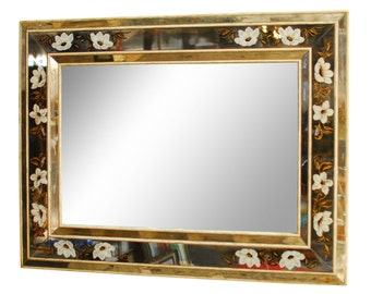 Antique French Reverse Painted Mirror
