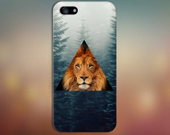 Geometric Lion x Evergreen Forest Fog Phone Case for iPhone 6 6 Plus iPhone 7  Samsung Galaxy s8 edge s6 and Note 5  S8 Plus Phone Case