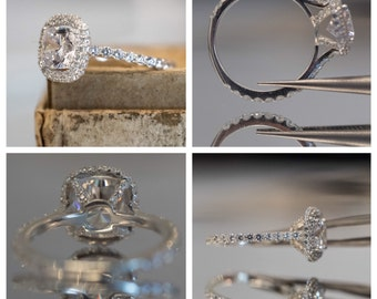 Cushion Cut Engagement Ring Setting With Halo, Diamonds on Band, Diamonds Around Halo, and Under Prongs. Dainty Diamond Engagement Ring,