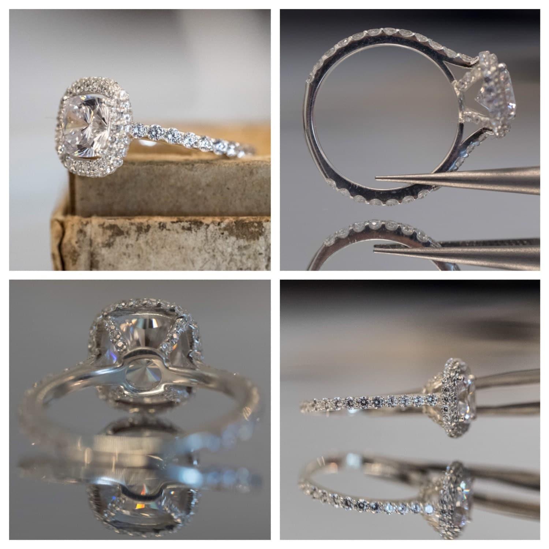 Cushion Cut Engagement Ring Setting With Halo Diamonds on