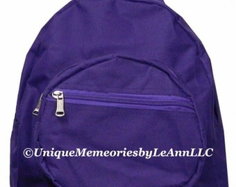 Solid color Mini Backpack with FREE Name or monogram - 4 colors Great for toddlers, Pre-schoolers, or smaller children, travel