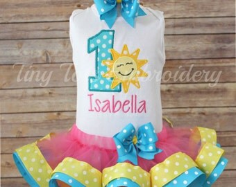 You Are My Sunshine Tutu Outfit ~ Pink, Teal and Yellow Sunshine Birthday Tutu Outfit ~ Includes Top, Ribbon Trim Tutu & Hair Bow