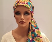 Carlee Pre-Tied Head Scarf - Glorious Flowers - A Cancer, Chemo, Alopecia Hat, Wrap, Head Cover for women experiencing hair loss.