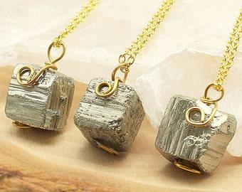 Pyrite Necklace, Gold Pyrite Necklace, Pyrite Nugget Gold Necklace, Gemstone Necklace, Crystal Necklace, Boho Necklace