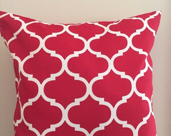 Red + White UV & Water Resistant Outdoor Cushion Cover