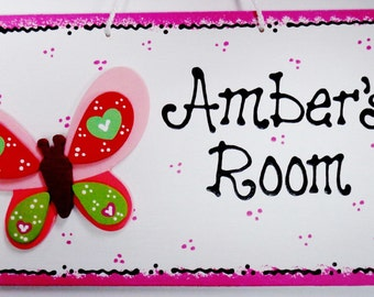 Personalized BUTTERFLY Overlay Nursery Door Room Sign Name Kids Girl Decor Handcrafted Plaque