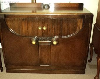 English Art Deco Oak Buffet Server Bar