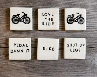 Bike LOVERS Clay Mini Magnet Set. Mountain bike. Road bike. Cruiser Bike. Shut up legs. Pedal Damn it. Bike. Love the ride. IN STOCK.