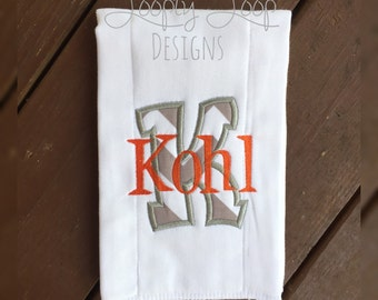 Monogrammed Personalized Burpcloth with letter applique and name