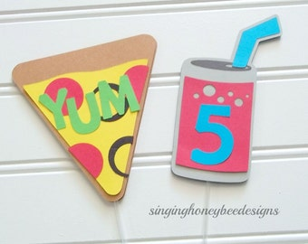 pizza party cake topper, pizza birthday party, junk food party, slumber party, pizza night topper, favorite foods decor, pizza party decor