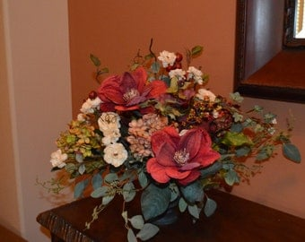 Silk Flower Arrangement, Tabletop Arrangement, Flower Arrangement, Silk centerpiece, Magnolia Arrangement