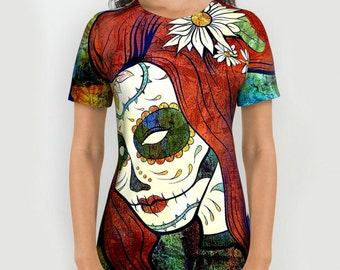 Sugar Skull Tee Shirt All Over Print Lady Skull