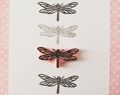 Dragonfly stamp, mounted, hand carved, rubber stamp, craft supply, insect decor