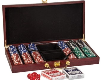 Valentines Day Poker Set in a Rosewood Finish Case - 300 chips, 2 Decks of Cards, 5 dice. A Personalized Gift for Groomsmen and Birthdays