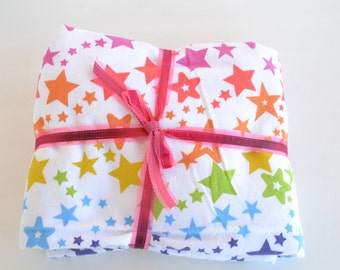 Flannel Fitted Crib Sheet, Rainbow Fitted Crib Sheet, Stars Fitted Crib Sheet,