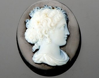 19th century carved hardstone cameo unmounted high quality signed