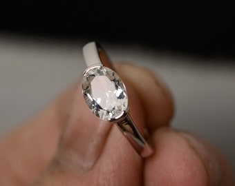Natural White Topaz Ring Oval Cut Ring Sterling Silver Prong Setting Ring