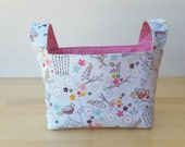 Small Fabric Storage Bin Basket - Birds and Cages with Pink Brushstroke
