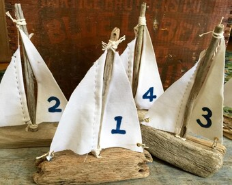 4 Handmade Driftwood Sail Boats - 6 to 8 Inches - Numbered