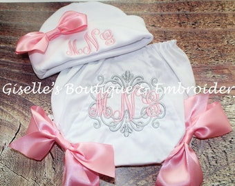 Monogram Baby Girl Hat and Bloomers Set