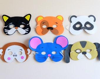 SET of 15, Kids masks, childrens masks, animal masks, fun masks, cat dog masks, mouse monkey mask, farm animals mask, fun party favors