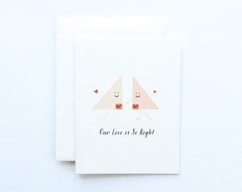 Our Love is So Right Card, Anniversary Card, Love Card, Triangle Card, Nerdy Love Card, Nerdy Anniversary Card