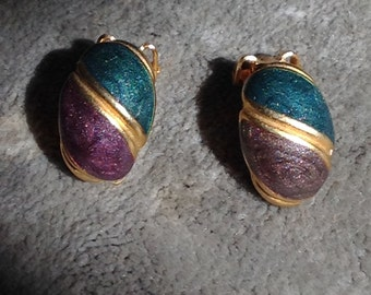 Vintage clip on purple teal and gold,sparkle earrings