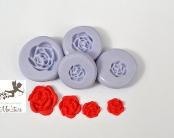 Kit 4 Molds flexible silicone Rosa 8mm 9mm 15mm 10mm polymer clay jewelry kawaii ST221