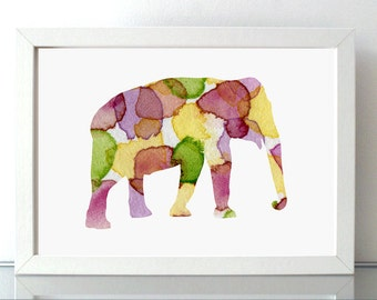 Elephant Watercolor illustration. Fine Art Print decoration. Animal Watercolor Painting.