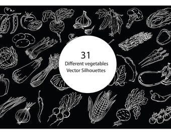 Vector illustration silhouettes of vegetables