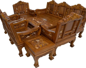 Carved teak wood living room furniture with beautiful country details   3  inches of thicknessesCarved teak wood living room furniture set with beautiful. Teak Living Room Furniture. Home Design Ideas