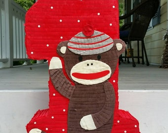 Sock monkey pinata, sock monkey birthday, sock monkey party