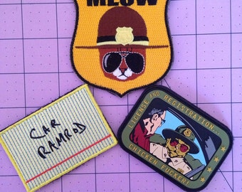 Super Troopers patch. Meow trooper, Car Ramrod, Chicken f@cker.