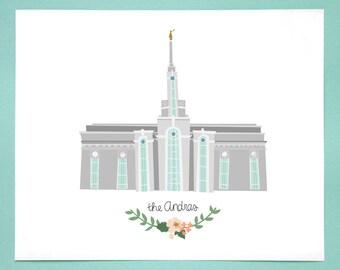 Mount Timpanogos Temple Customized Art Print for Wedding, Anniversary, Nursery, Home Decor, Valentine, Gifts under 50
