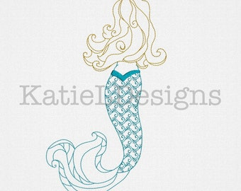 Colorwork Mermaid Machine Embroidery Design Pattern Download 6 Sizes Ocean Sea Nautical Redwork Beach