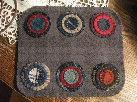 Blue Plaid Penny Rug, FAAP, OFG, HAFair