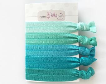 Aqua Ombre Hair Ties, Blue Hair Ties Set, Hair Ties, Set of 5