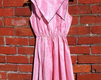 Pink dress, vintage dress, geometric dress, retro dress, designer dress, pastel dress, collar dress, silk dress, Genetpelsone dress,