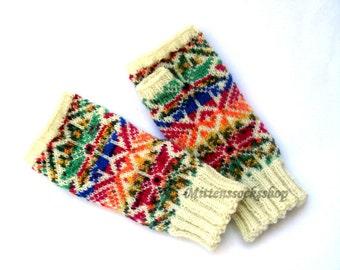 Rainbow Fingerless Gloves Hand Knitted Fingerless Gloves Arm Warmers Hand Warmers Wrist Warmers Patterned Fingerless Gloves Texting Gloves