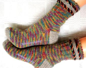 Multicolor Angora Wool Socks Hand Knitted Socks Multicolor Women's Socks Girl's Socks Ladies' socks Men's Socks Warm Socks Winter Socks Gift
